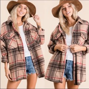 Taupe Plaid Boxy Oversized Fleece Shirt Jacket